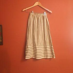Vintage stripped pull on minimal a line midi skirt